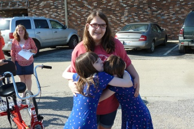 My friend Francie's daugther Abby got a new bike too. Mikayl & Hope love Abby